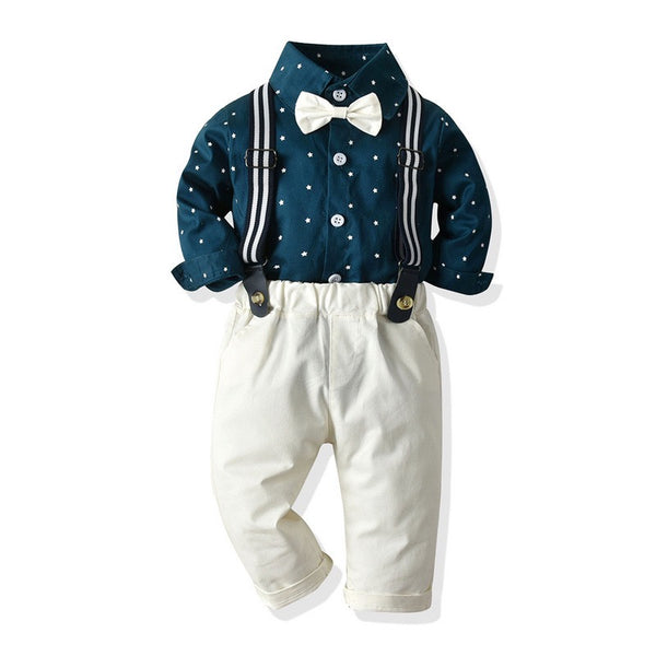 Blue Polka Dotted Shirt And Suspender Pant Set