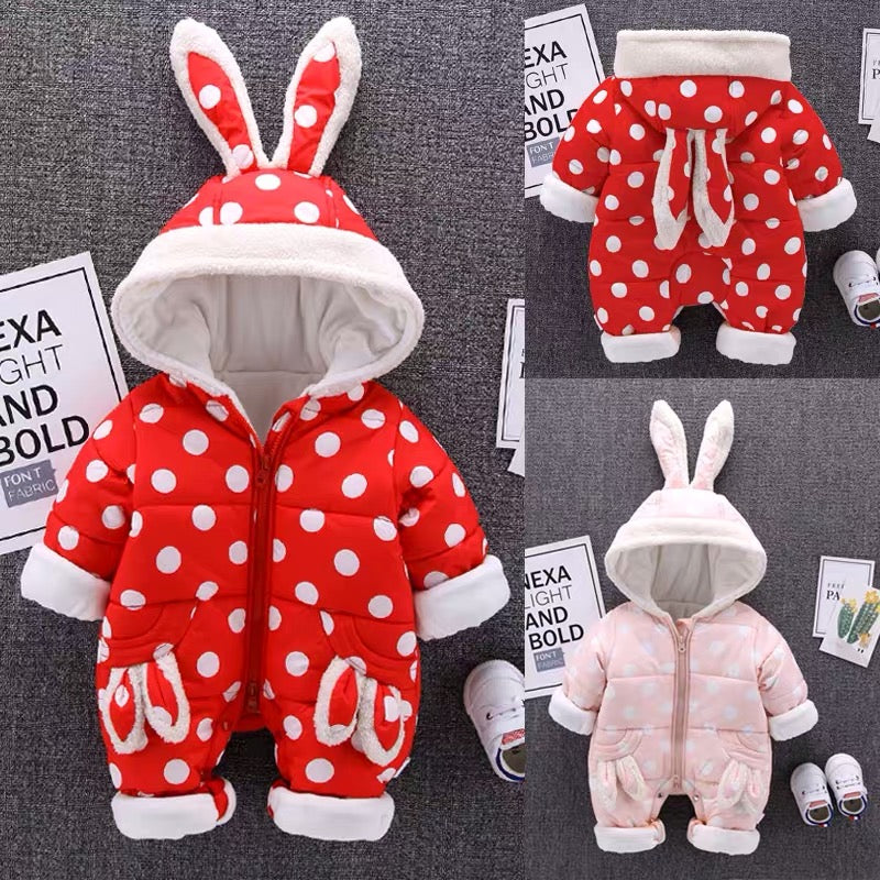 Polka Dotted Rabbit Ear Winter Jumpsuit