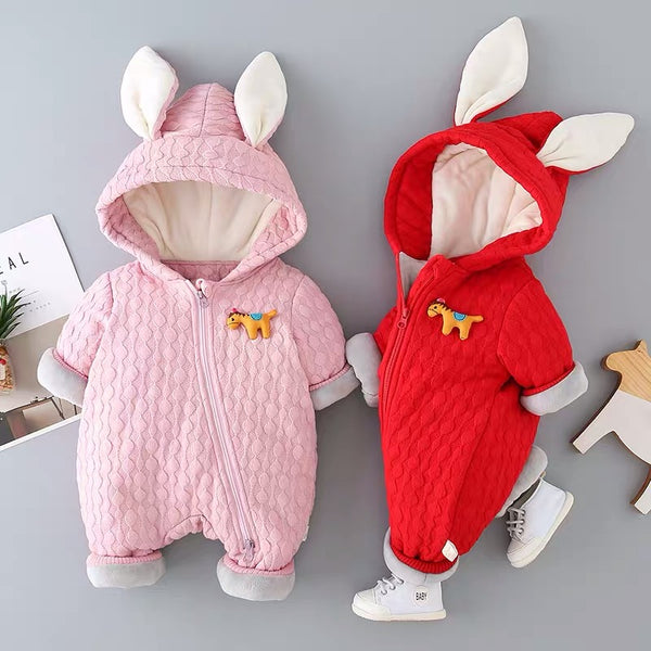 Rabbit Ear Textured Winter Jumpsuit