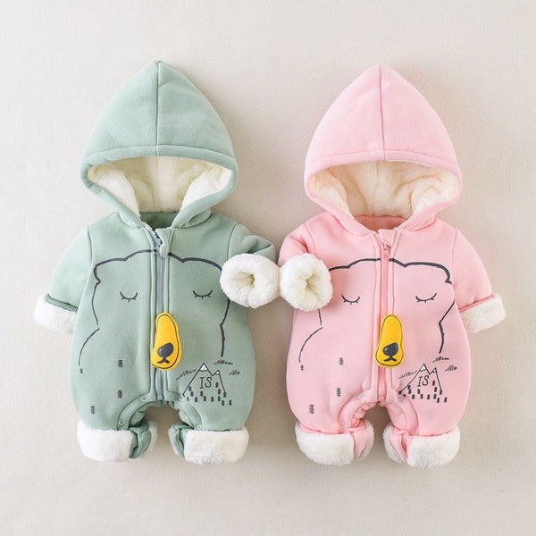 Bear Printed Zipper Winter Jumpsuit