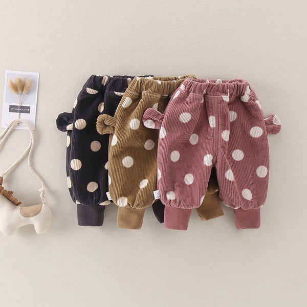 Polka Dotted Corduroy Winter Ballon Pants