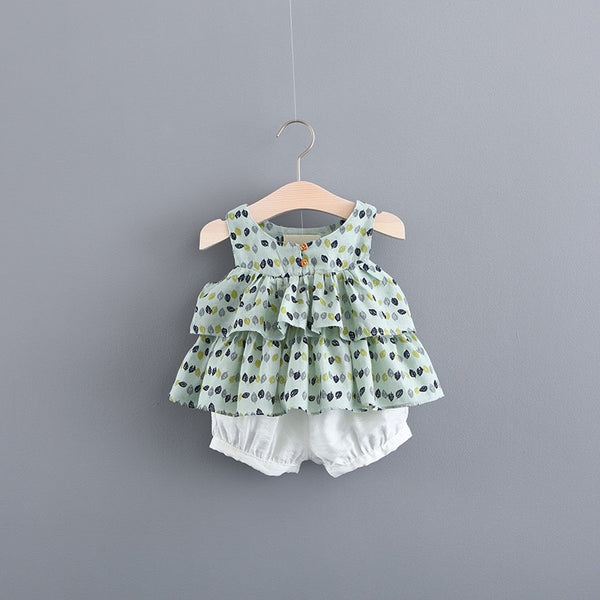 Leaf Printed Summer Sets For Baby Girls