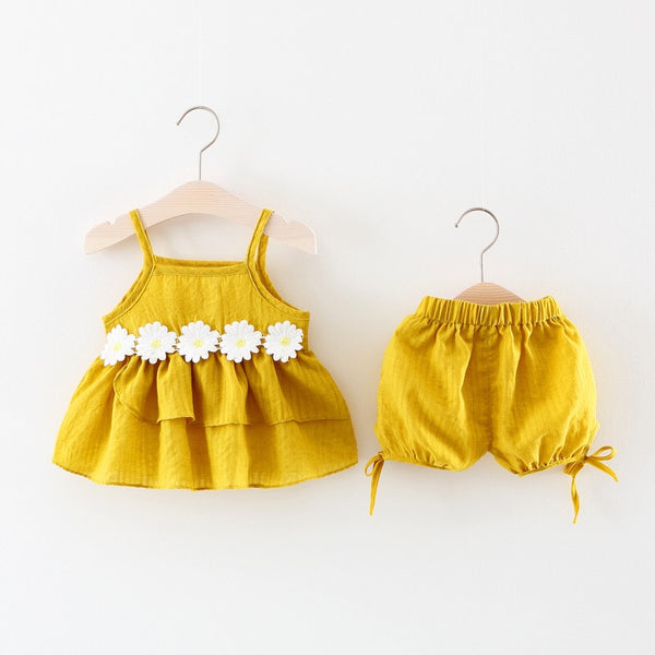 Strap Flowers Summer Set For Baby Girls