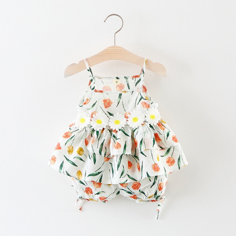 Floral Printed Strap Summer Sets For Baby Girls