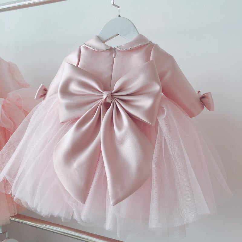 Bow Sleeves Doll Collar Net Party Dress