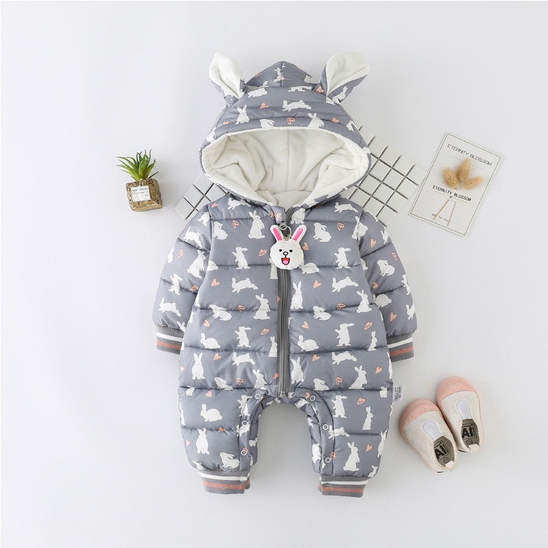 Rabbit Printed Hooded Winter Jumpsuit