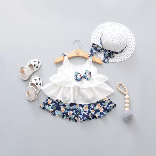 Floral Bow Summer Set With Hat