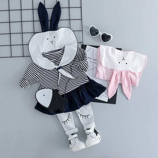 Striped Rabbit Top And Skirt Pant Set