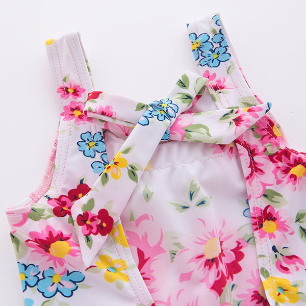Floral Swimsuit With Bow Knot Back