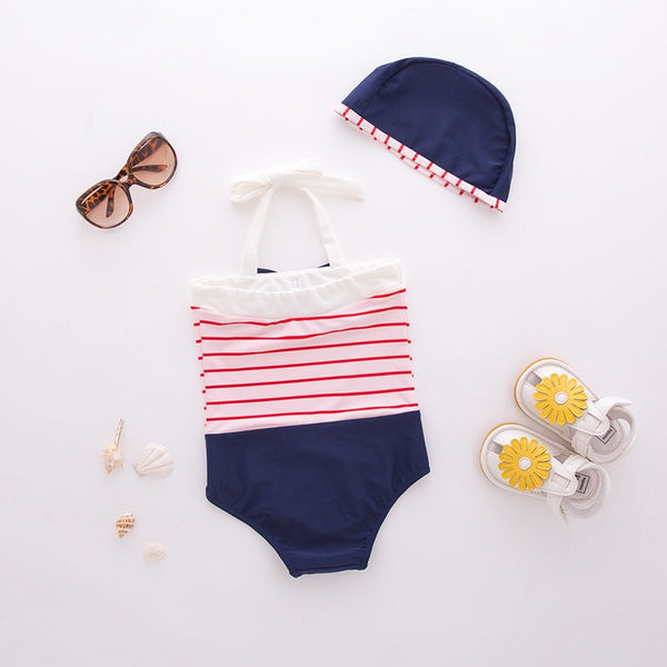Striped Buttoned Swimsuit