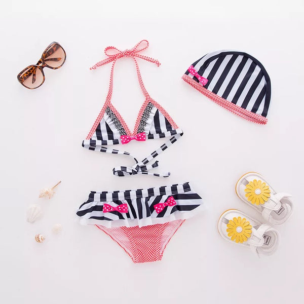 Black And White Striped Swimsuit