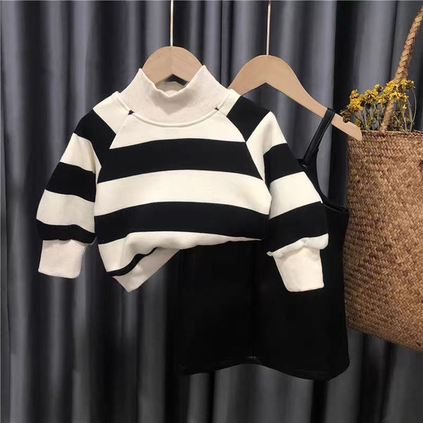 Striped Sweatshirt And Leather Dungaree Set