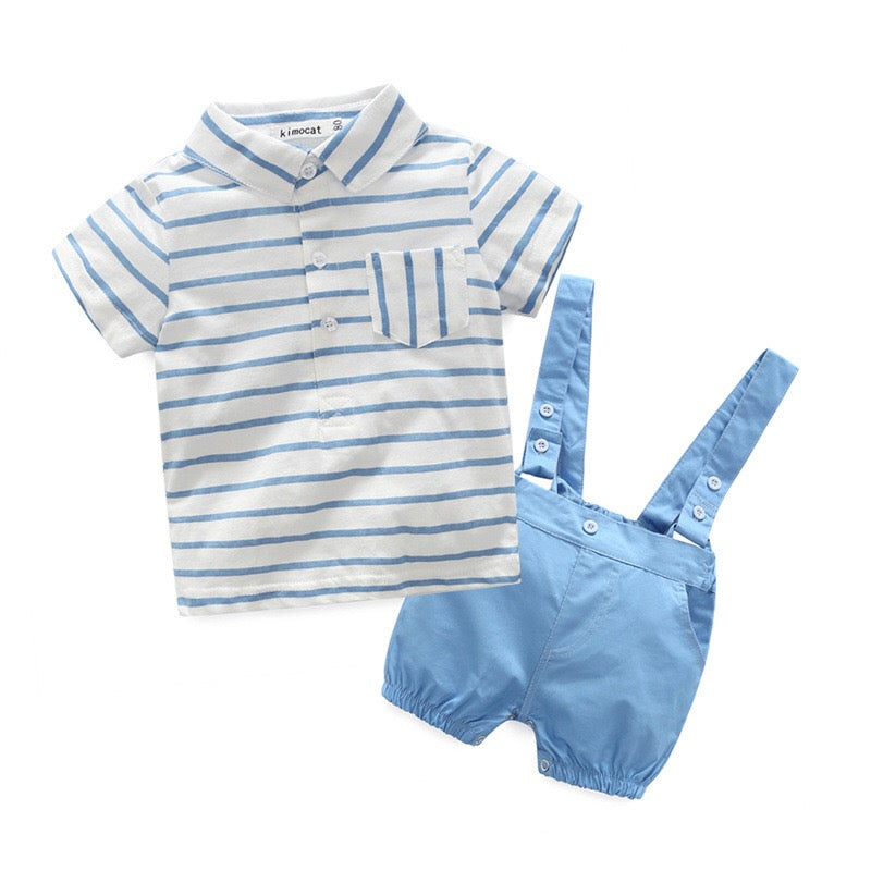 Short Sleeves Shirt Plus Suspenders Shorts Set