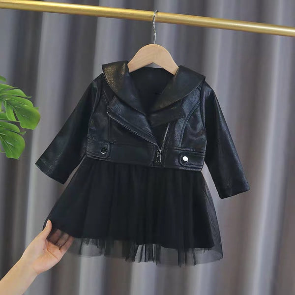 Faux Leather jacket attached dress