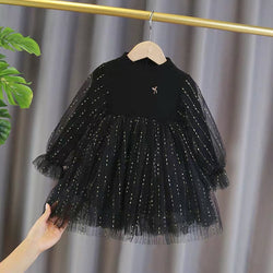 Black High Neck Net Dress