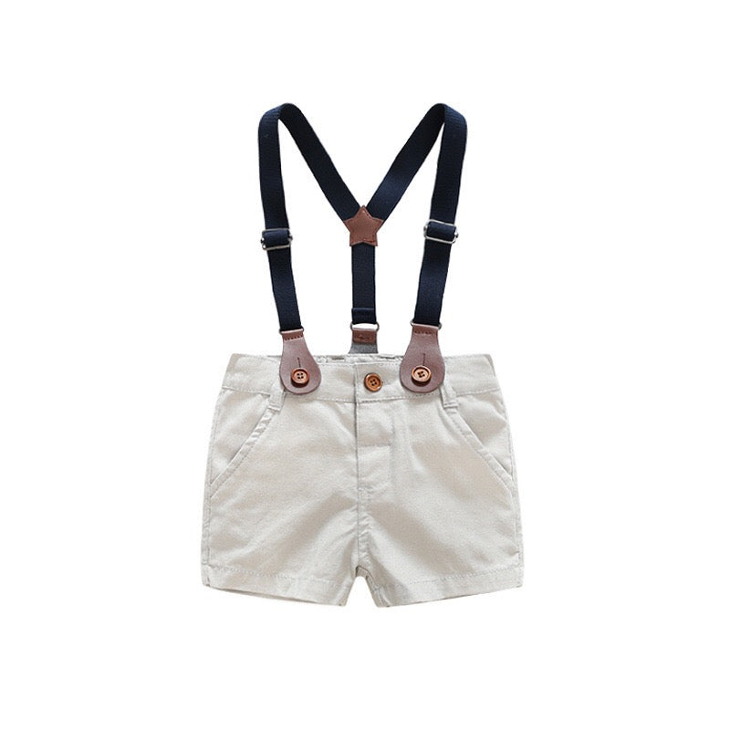 Bow Striped Shirt Plus Suspenders Shorts Set