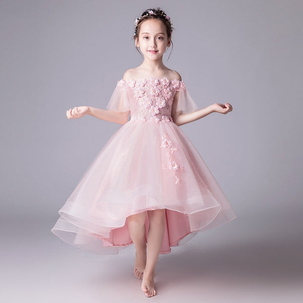 Pink Flower Applique High Low Princess Gown