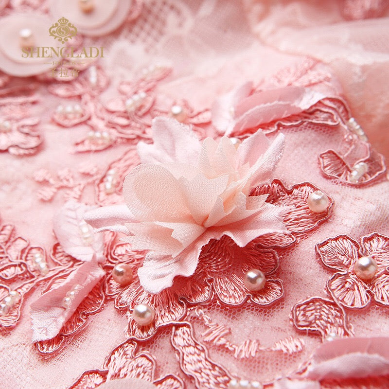 Flower Stitched Pink High Low Princess Gown
