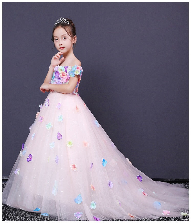 Flower And Butterfly Stitched Long Gown