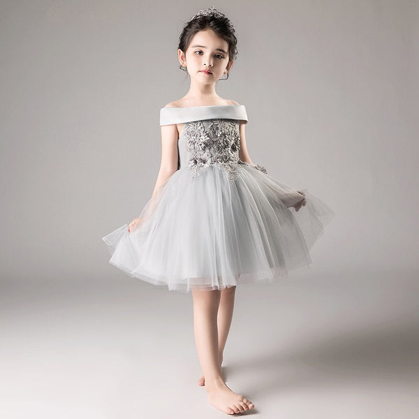 Grey Flower Made Short Party Dress