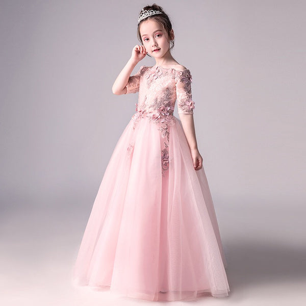 Pink Applique Long Party Gown