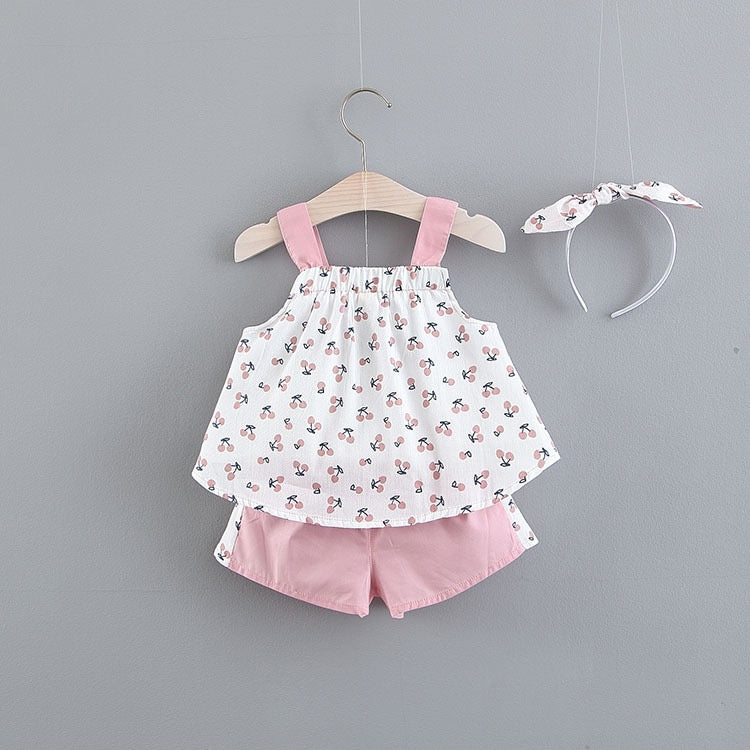 Cherry Printed Bow Summer Set With Headband