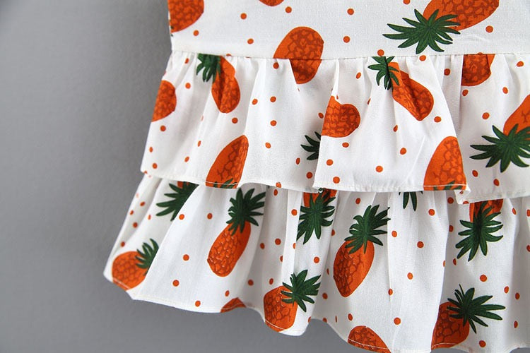 Pineapple Printed Frill Summer Set