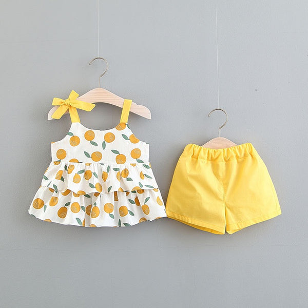 Peach Printed Frill Summer Set