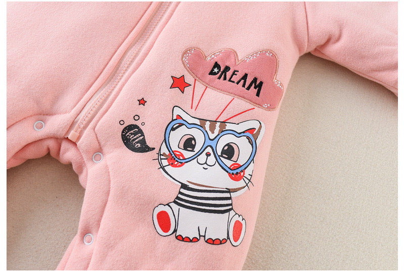 Cat Printed Hooded Winter Jumpsuits