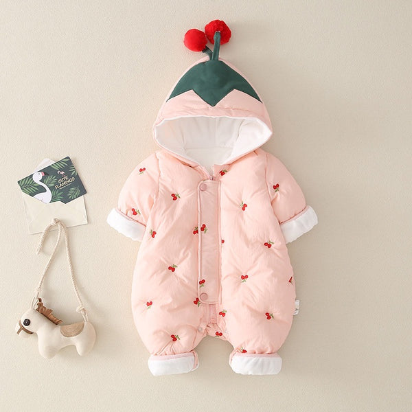 Berry Printed Hooded Winter Jumpsuit