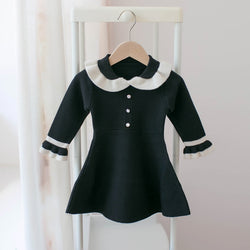 Peter Pan Collar Full Sleeves Winter Dress