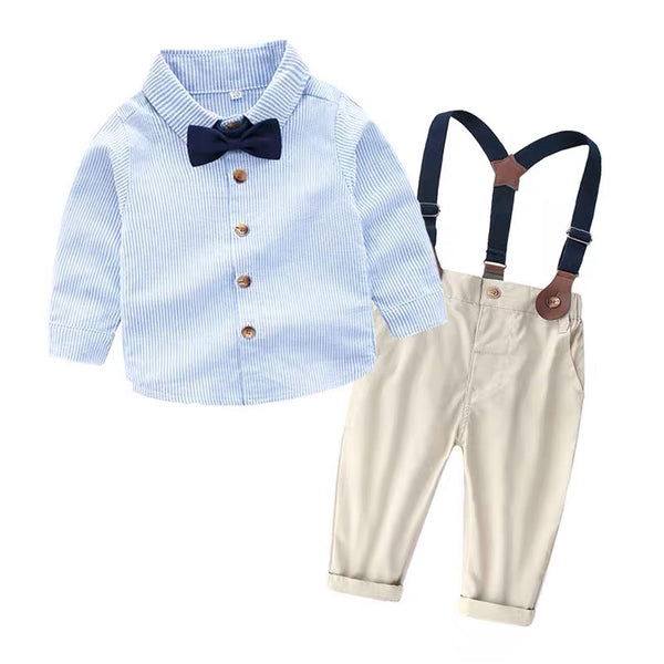 Bow Striped Shirt With Suspenders Pant