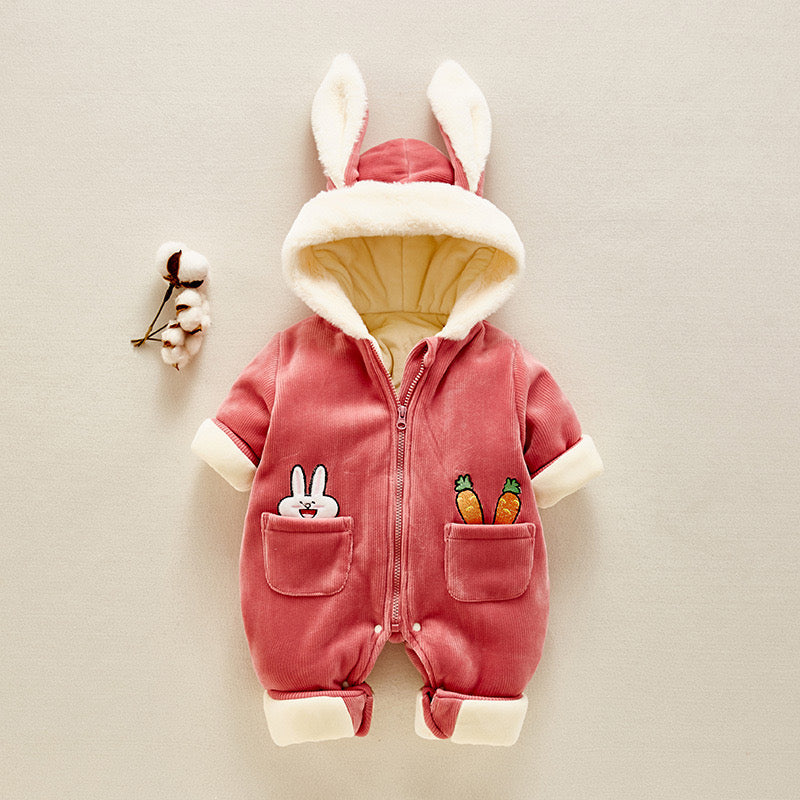Rabbit Pocket Zipper Winter Jumpsuit
