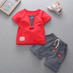 Striped Shorts Summer Set With Tie Tshirt