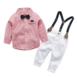 Bow Striped Shirt With Suspenders White Pant
