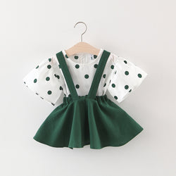 Polka Dotted Flare Sleeves Dress