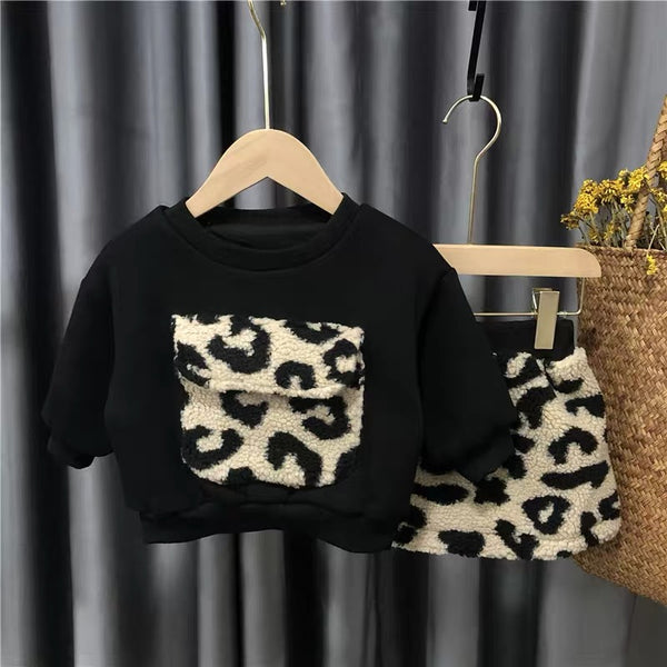 Black Sweatshirt And Leopard Skirt Set