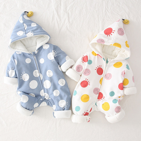 Big Dotted Hooded Winter Jumpsuits