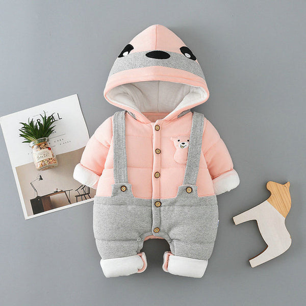BEAR BUTTONED DUNGAREE STYLE WINTER JUMPSUIT