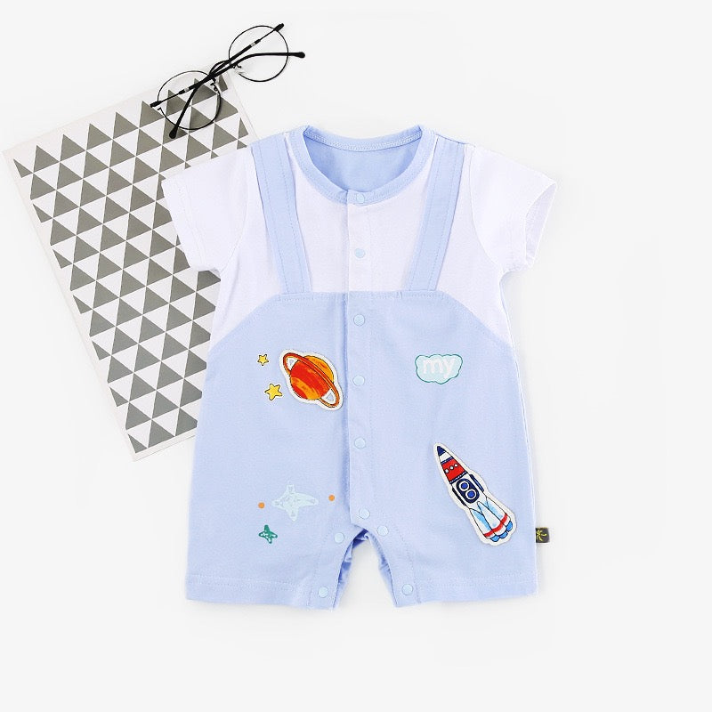 Rocket Printed Dungaree Romper