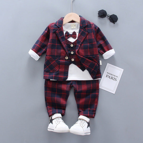 Checkered Party Jacket And attached vest tshirt and pant set