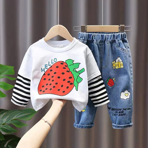 Fruit Printed Tshirt And Patched Denim Set