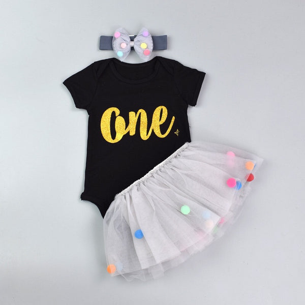 One Printed Tutu Dress With Headband