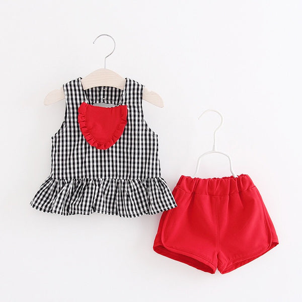 Heart Shaped Plaided Summer Set