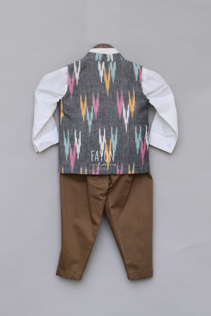 Ikkat Print Nehru Jacket with Pant & Shirt