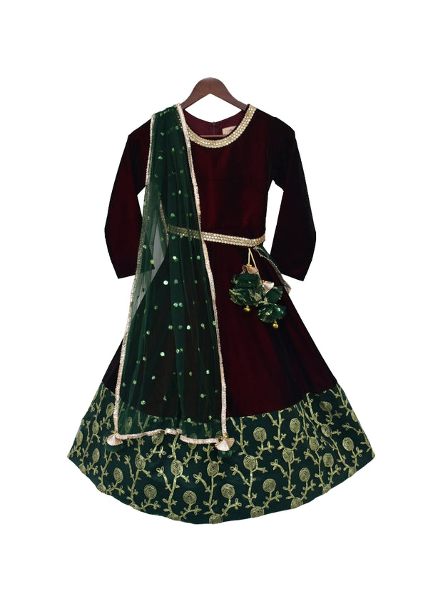 Maroon Velvet Anarkali with Green Border
