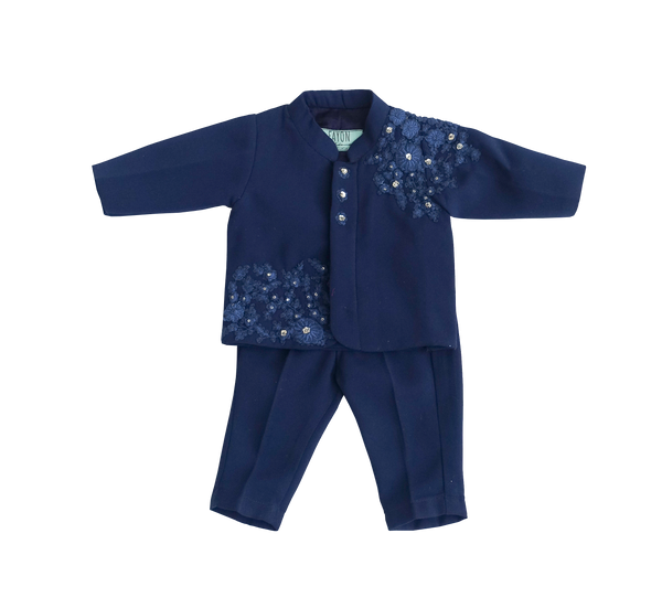 Midnight Blue Embroidry Ajkan with Pant