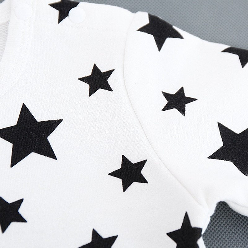 Star Printed Romper With Hat