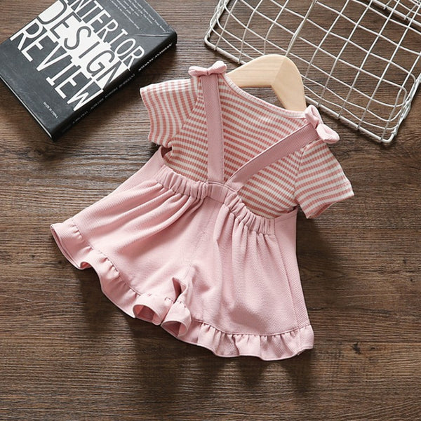 Pink Striped Tshirt And Dungaree Set