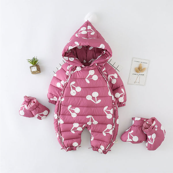 Berry Printed Winter Jumpsuit With Gloves And Socks